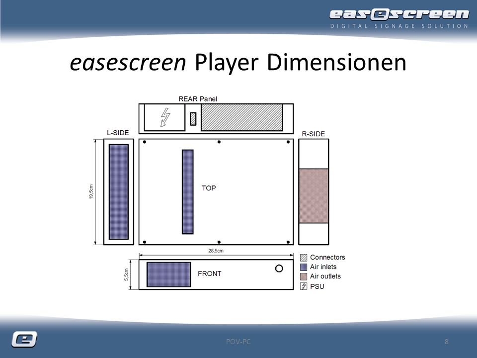 easescreen Player Dimensionen