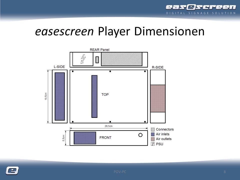 easescreen Player Dimensionen