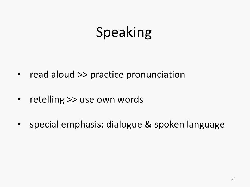 Speaking read aloud >> practice pronunciation