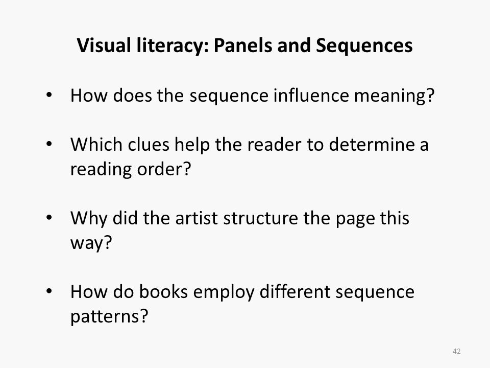 Visual literacy: Panels and Sequences