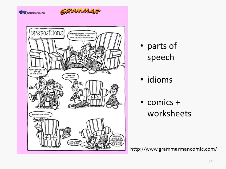 parts of speech idioms comics + worksheets
