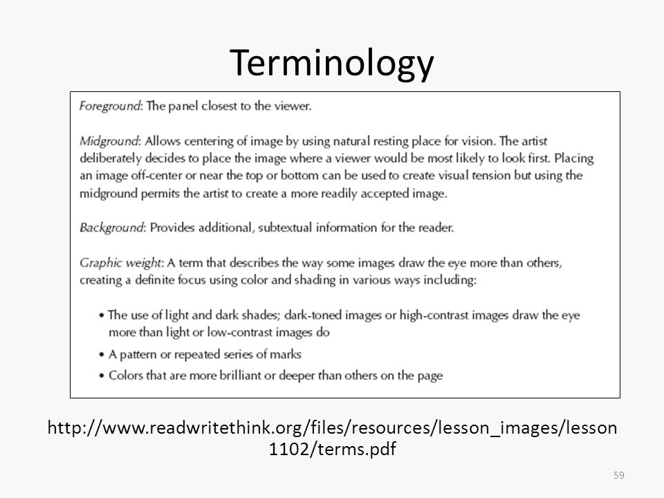 Terminology http://www.readwritethink.org/files/resources/lesson_images/lesson1102/terms.pdf