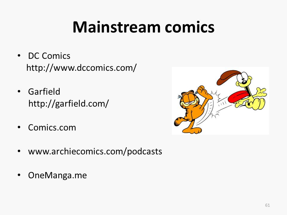 Mainstream comics DC Comics http://www.dccomics.com/ Garfield