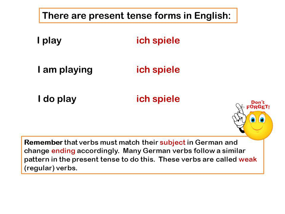 There are present tense forms in English: