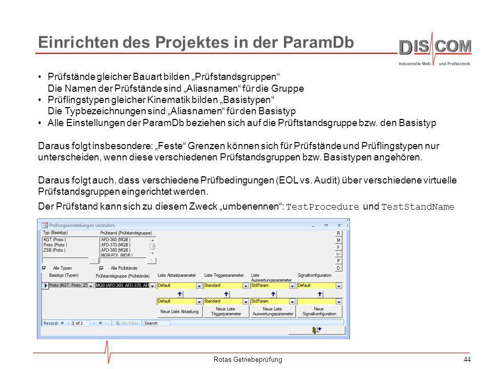 Einrichten des Projektes in der ParamDb