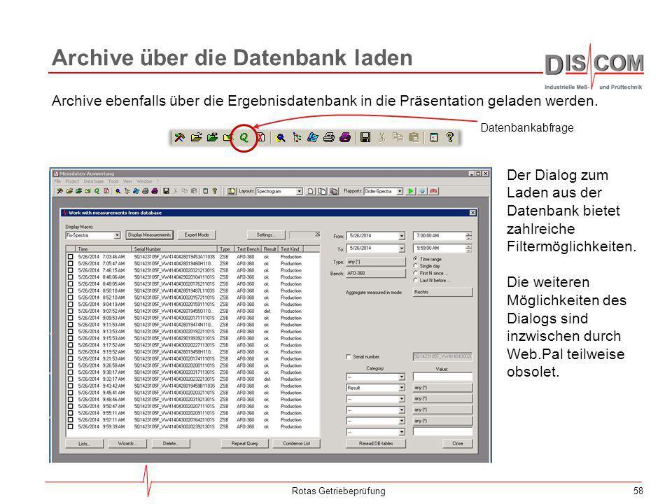 Archive über die Datenbank laden