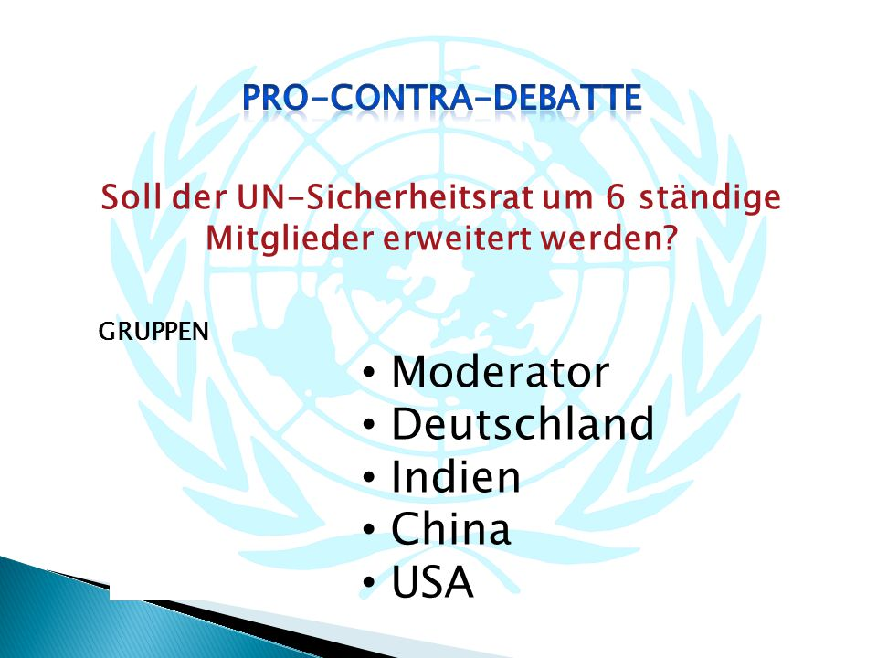 Soll der UN-Sicherheitsrat um 6 ständige Mitglieder erweitert werden