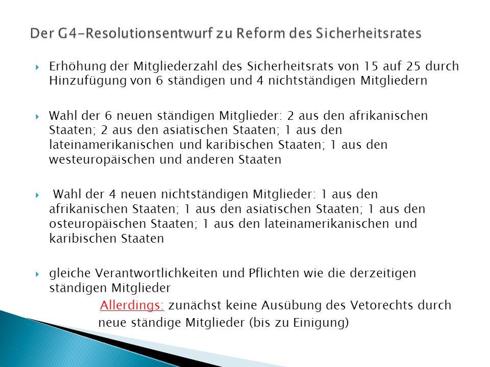Der G4-Resolutionsentwurf zu Reform des Sicherheitsrates