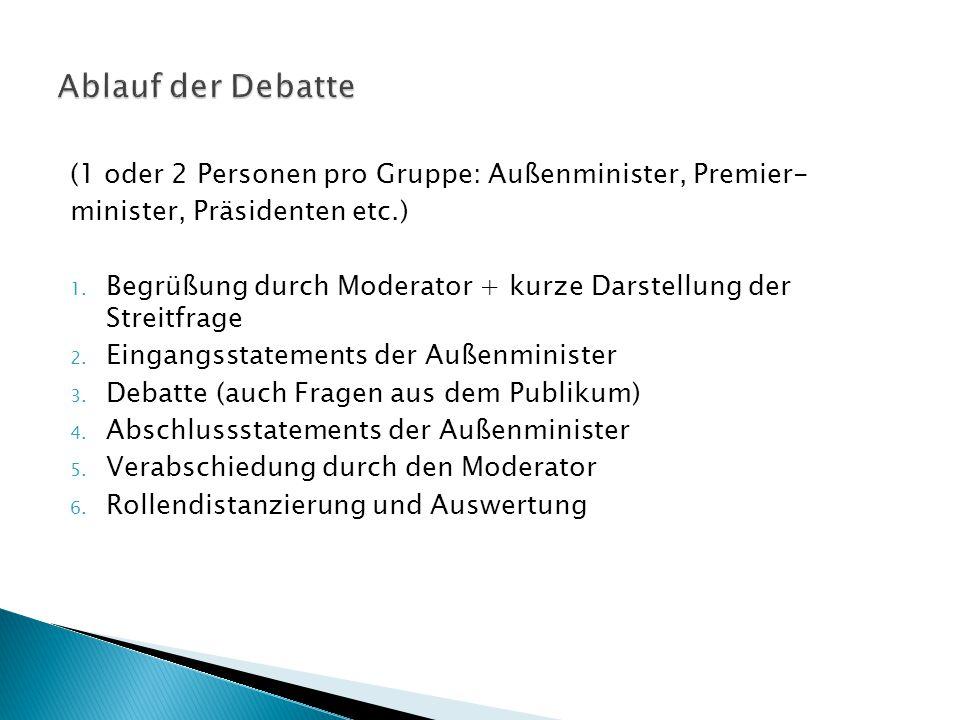 Ablauf der Debatte (1 oder 2 Personen pro Gruppe: Außenminister, Premier- minister, Präsidenten etc.)