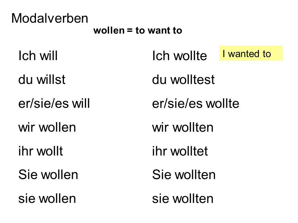 Modalverben Ich will du willst er/sie/es will wir wollen ihr wollt