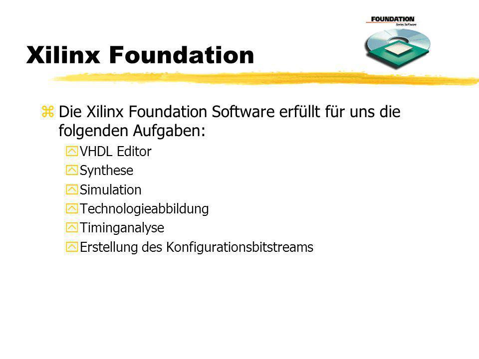 Xilinx Foundation Die Xilinx Foundation Software erfüllt für uns die folgenden Aufgaben: VHDL Editor.