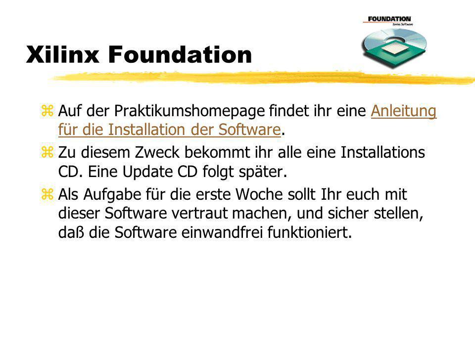 Xilinx Foundation Auf der Praktikumshomepage findet ihr eine Anleitung für die Installation der Software.