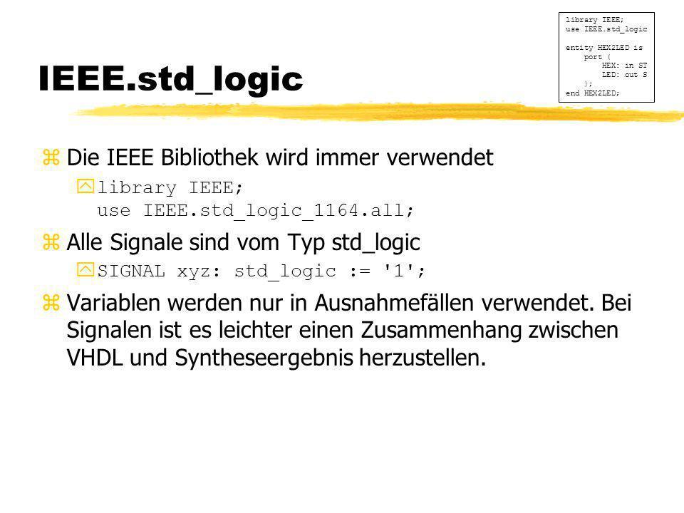 IEEE.std_logic Die IEEE Bibliothek wird immer verwendet