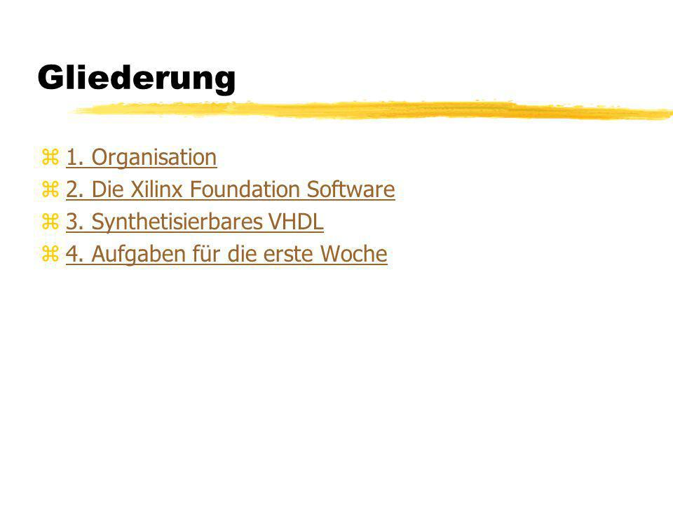 Gliederung 1. Organisation 2. Die Xilinx Foundation Software