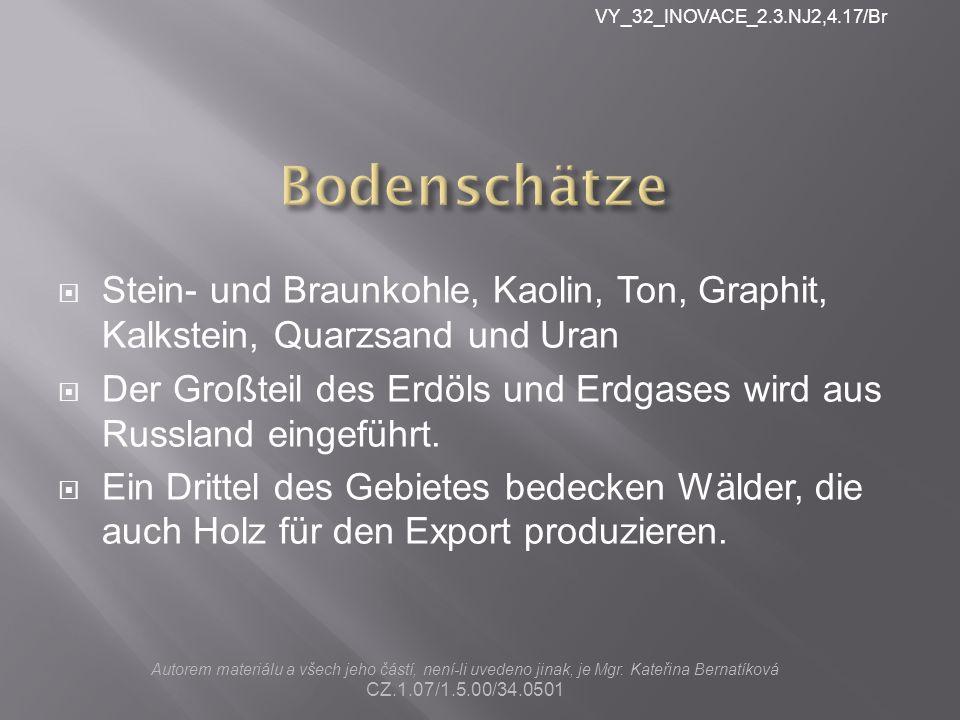 VY_32_INOVACE_2.3.NJ2,4.17/Br Bodenschätze. Stein- und Braunkohle, Kaolin, Ton, Graphit, Kalkstein, Quarzsand und Uran.