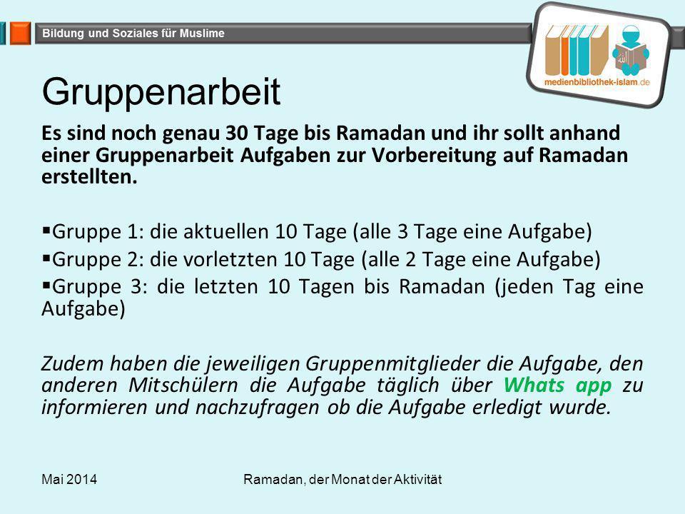 Ramadan, der Monat der Aktivität