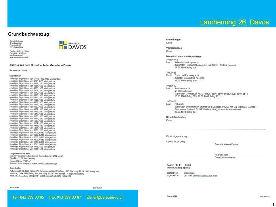 Lärchenring 26, Davos Grundbuchauszug