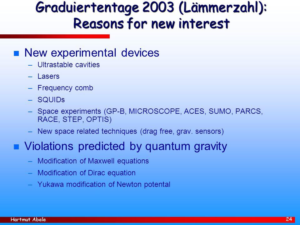 Graduiertentage 2003 (Lämmerzahl): Reasons for new interest