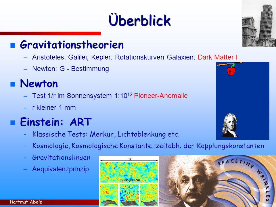 Überblick Gravitationstheorien Newton Einstein: ART
