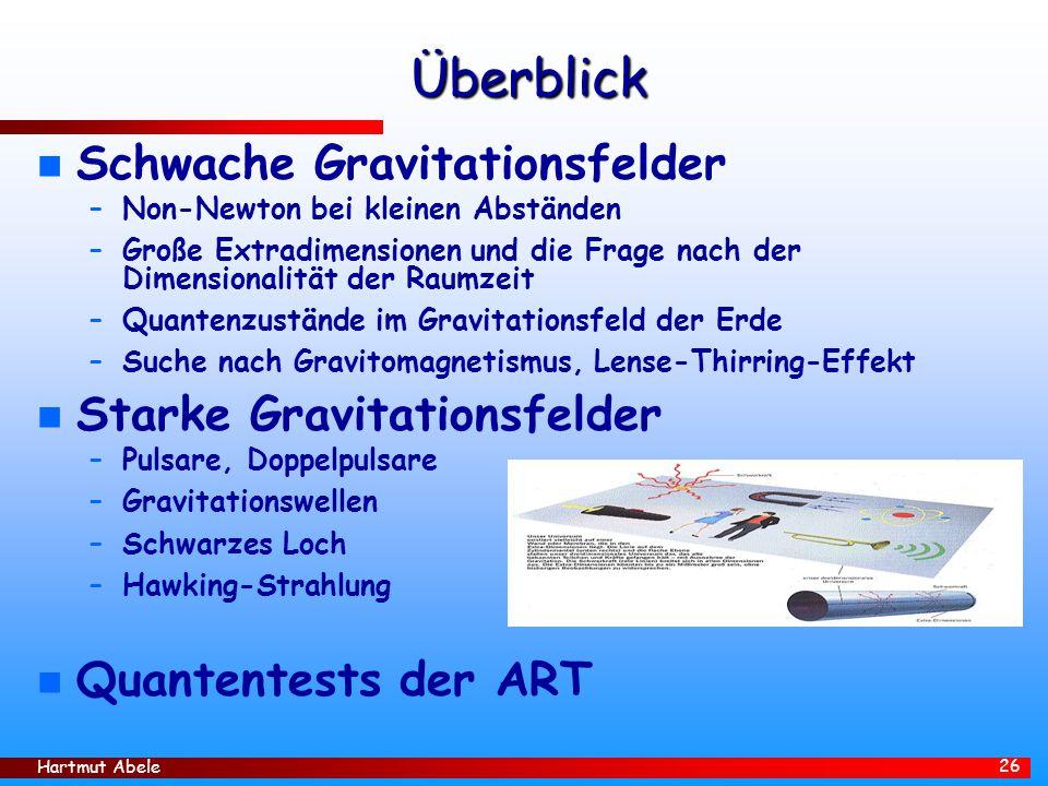 Überblick Schwache Gravitationsfelder Starke Gravitationsfelder