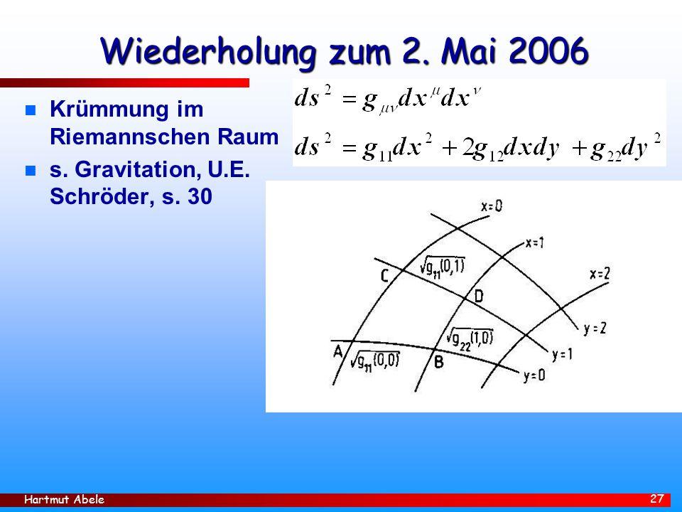 Wiederholung zum 2. Mai 2006 Krümmung im Riemannschen Raum