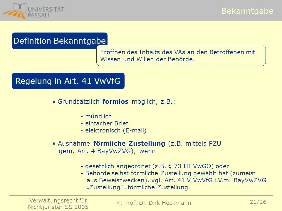 Definition Bekanntgabe