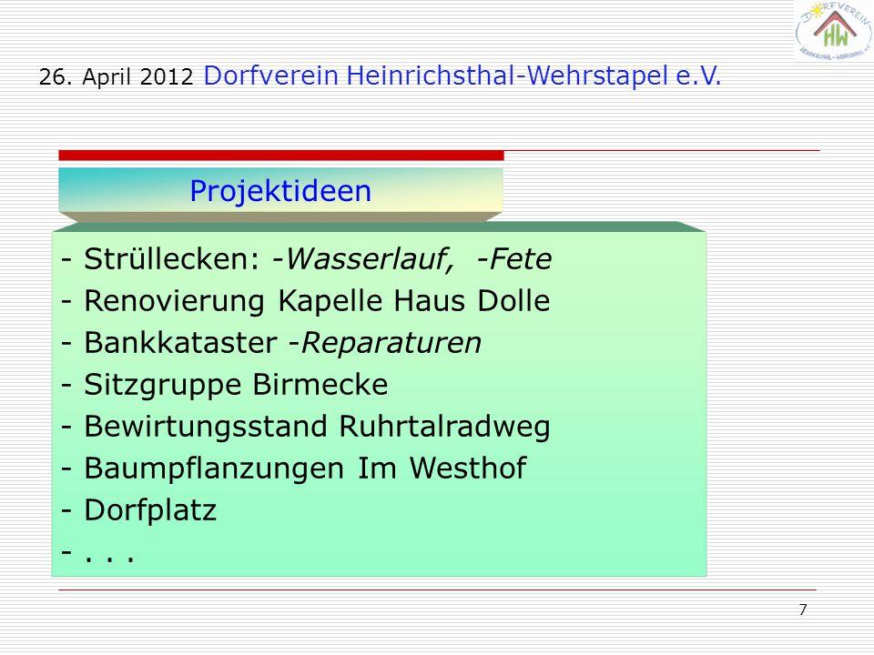 - Strüllecken: -Wasserlauf, -Fete Renovierung Kapelle Haus Dolle