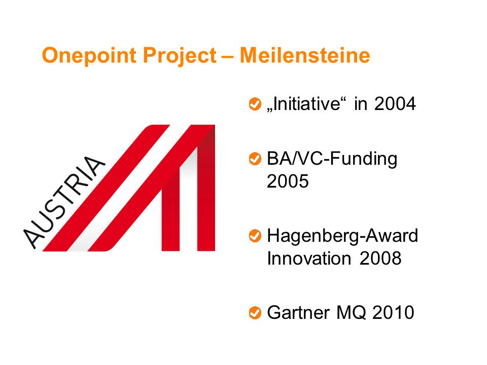 Onepoint Project – Meilensteine