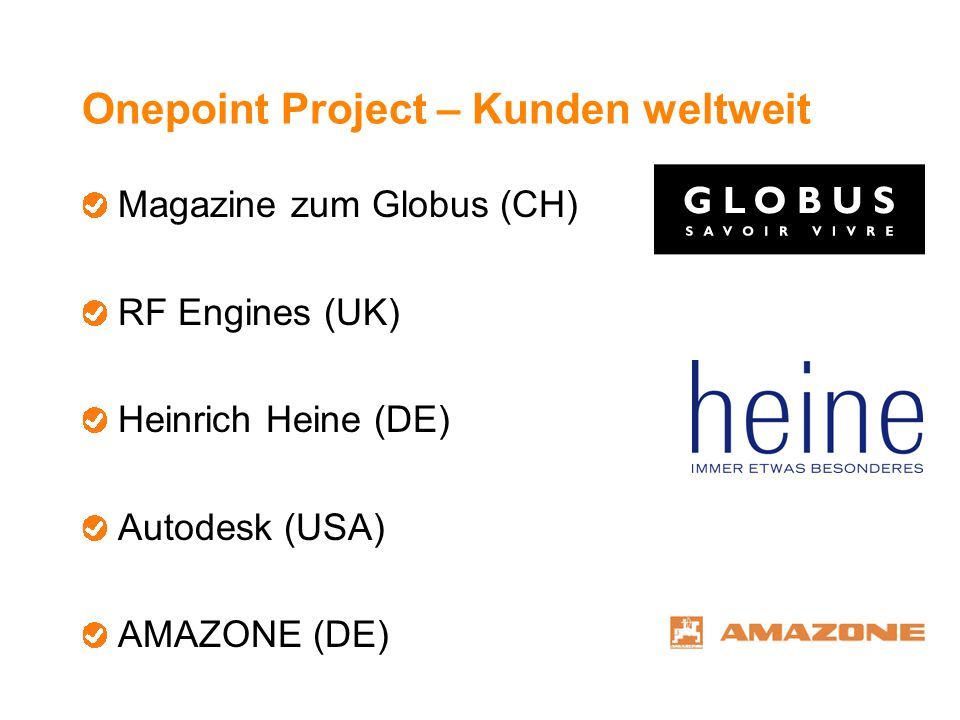 Onepoint Project – Kunden weltweit