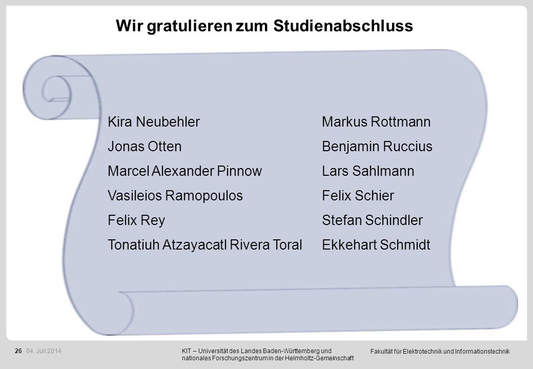 Wir gratulieren zum Studienabschluss