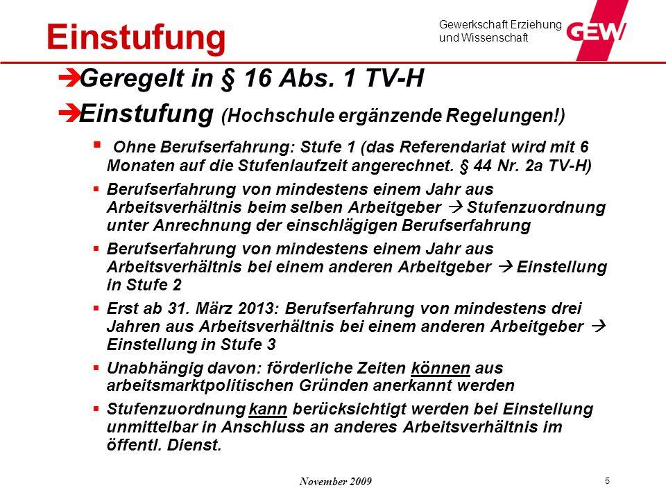 Einstufung Geregelt in § 16 Abs. 1 TV-H