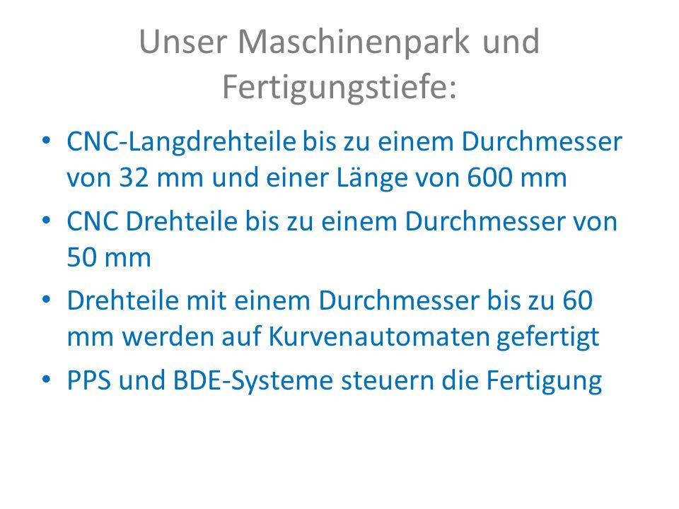 Unser Maschinenpark und Fertigungstiefe: