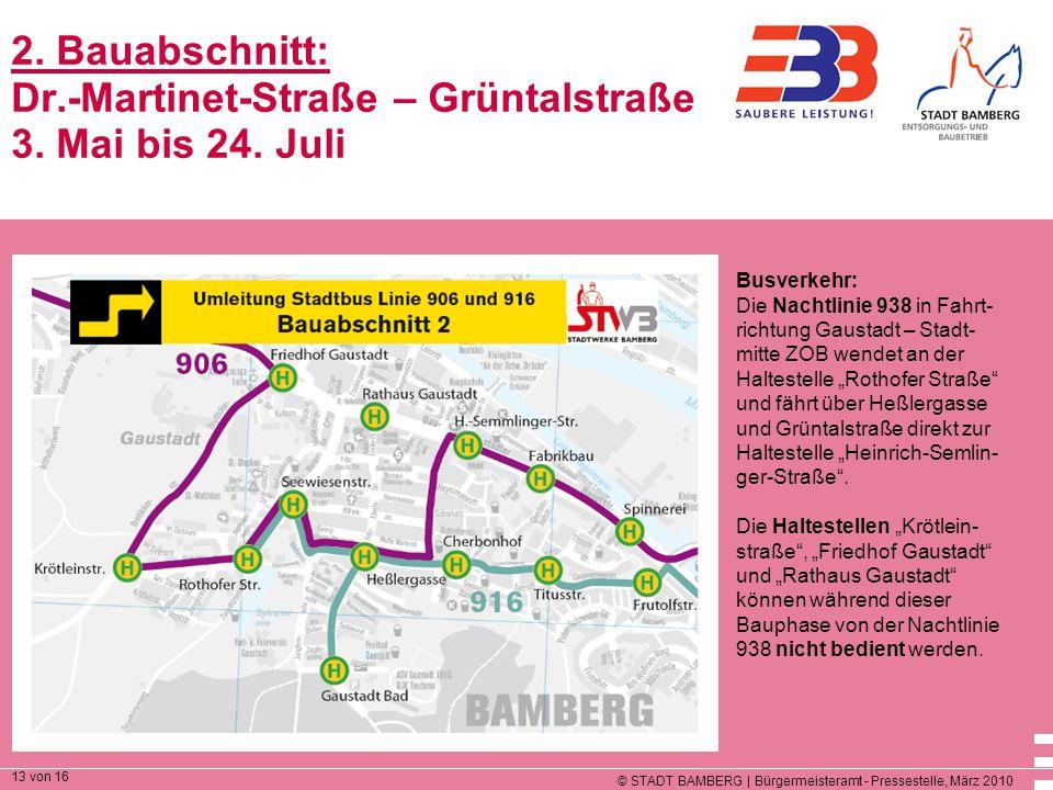 2. Bauabschnitt: Dr. -Martinet-Straße – Grüntalstraße 3. Mai bis 24