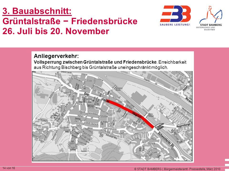 3. Bauabschnitt: Grüntalstraße − Friedensbrücke 26. Juli bis 20
