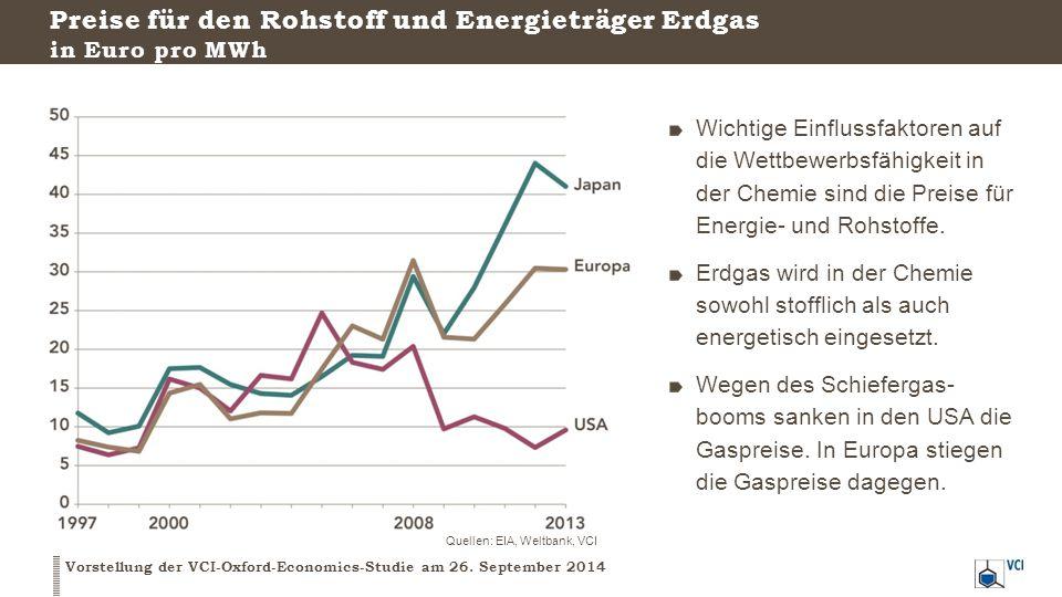 Preise für den Rohstoff und Energieträger Erdgas in Euro pro MWh