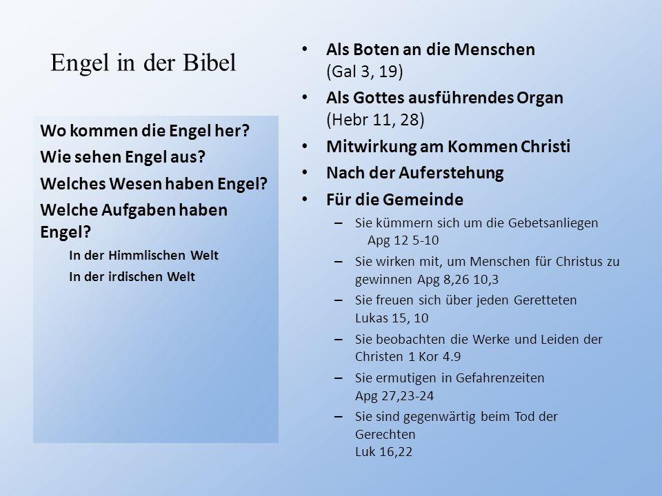 Engel in der Bibel Als Boten an die Menschen (Gal 3, 19)
