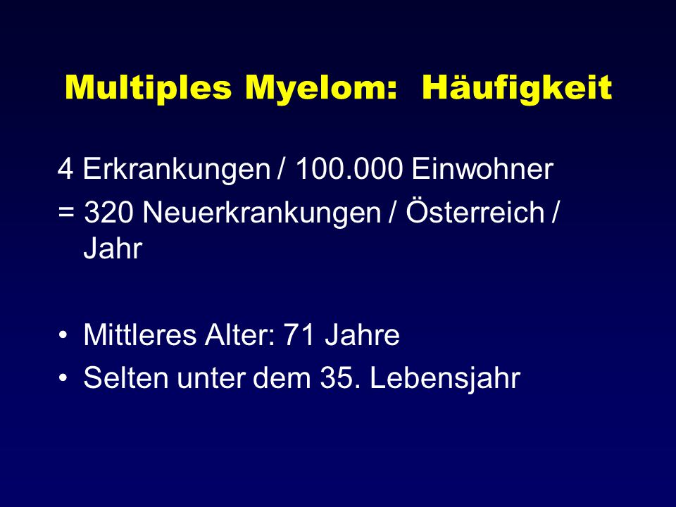 Multiples Myelom: Häufigkeit
