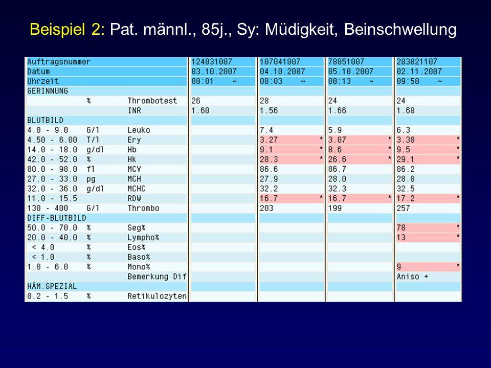 Beispiel 2: Pat. männl., 85j., Sy: Müdigkeit, Beinschwellung
