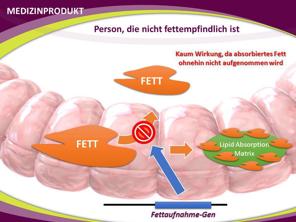 FETT FETT MEDIZINPRODUKT Person, die nicht fettempfindlich ist