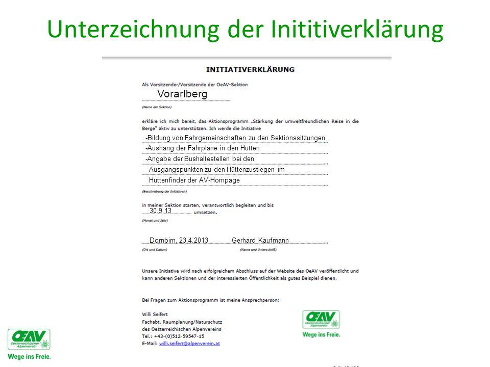 Unterzeichnung der Inititiverklärung