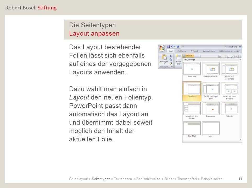 Die Seitentypen Layout anpassen