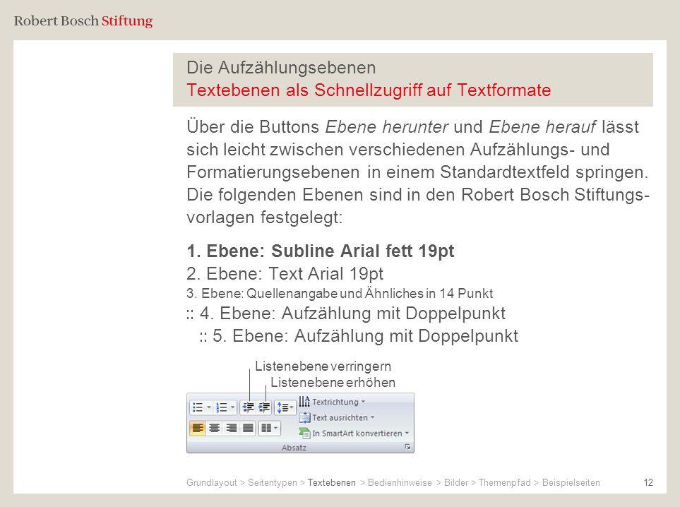 Die Aufzählungsebenen Textebenen als Schnellzugriff auf Textformate