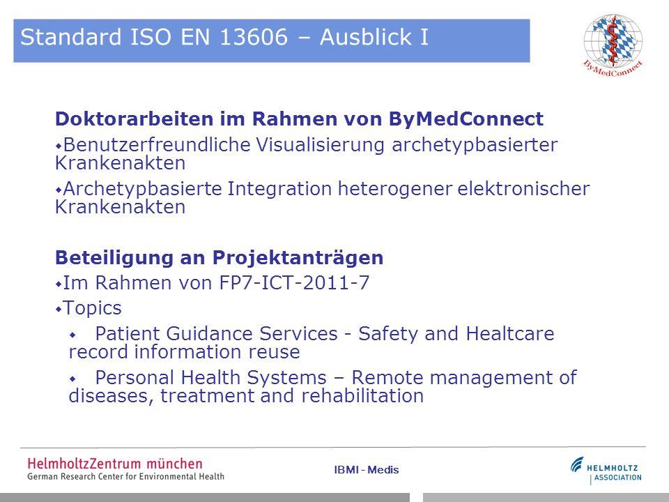 Standard ISO EN 13606 – Ausblick I