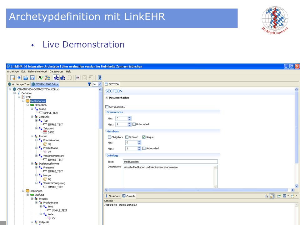 Archetypdefinition mit LinkEHR