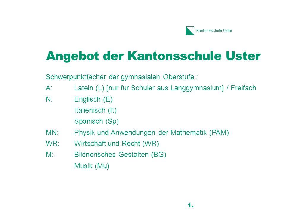 Angebot der Kantonsschule Uster