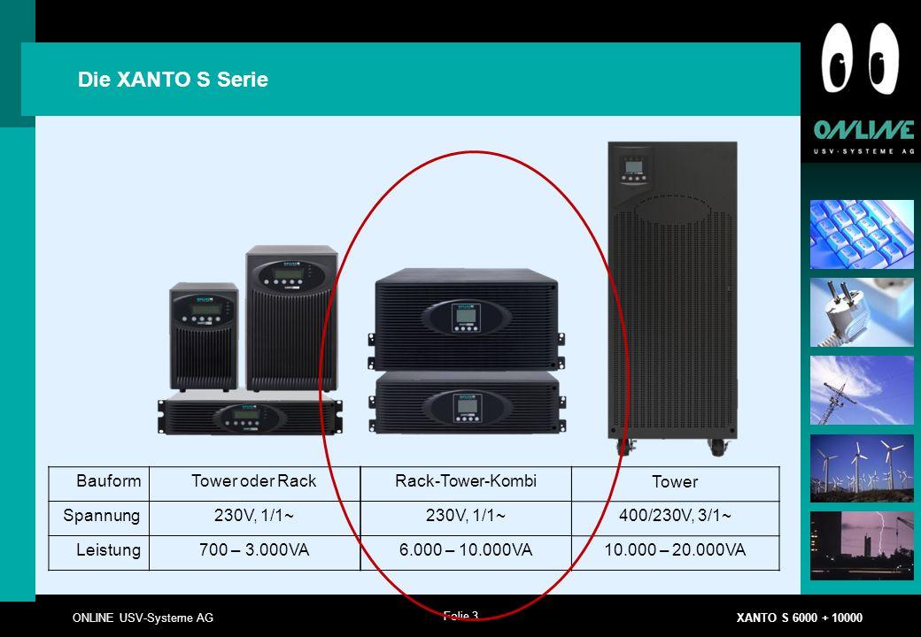 Die XANTO S Serie Bauform Tower oder Rack Spannung 230V, 1/1~ Leistung