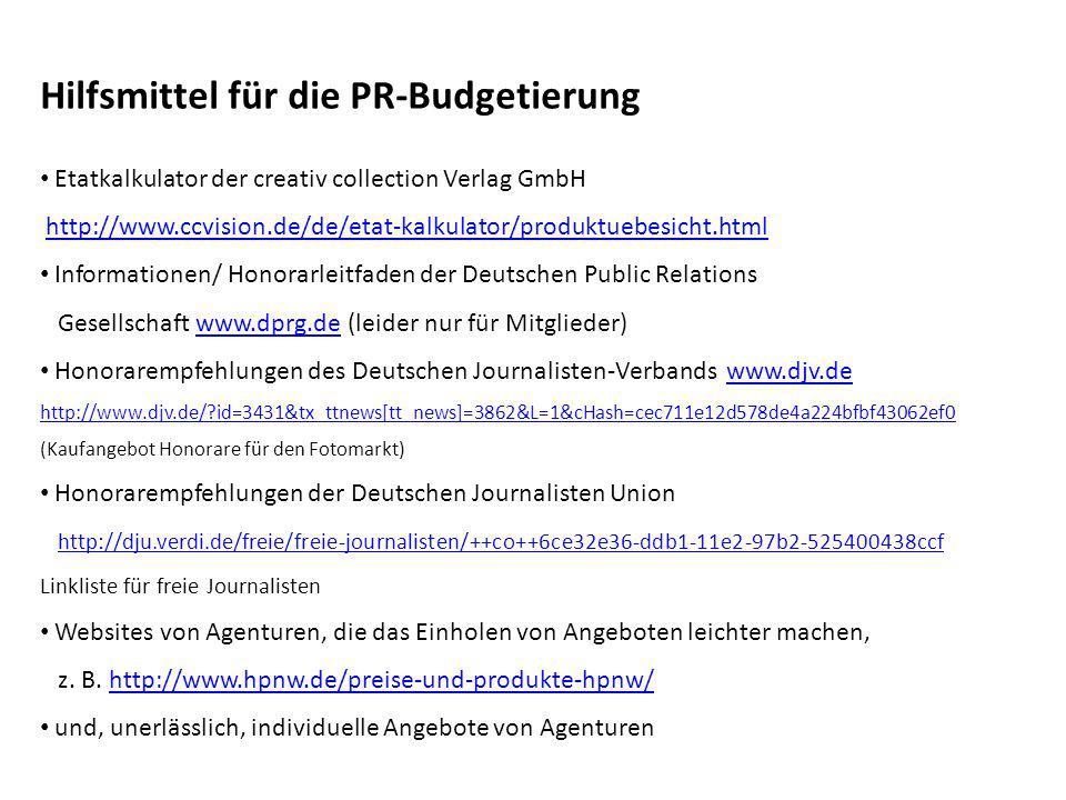Hilfsmittel für die PR-Budgetierung