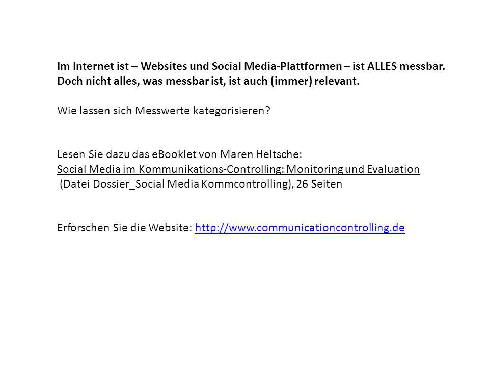 Im Internet ist – Websites und Social Media-Plattformen – ist ALLES messbar.
