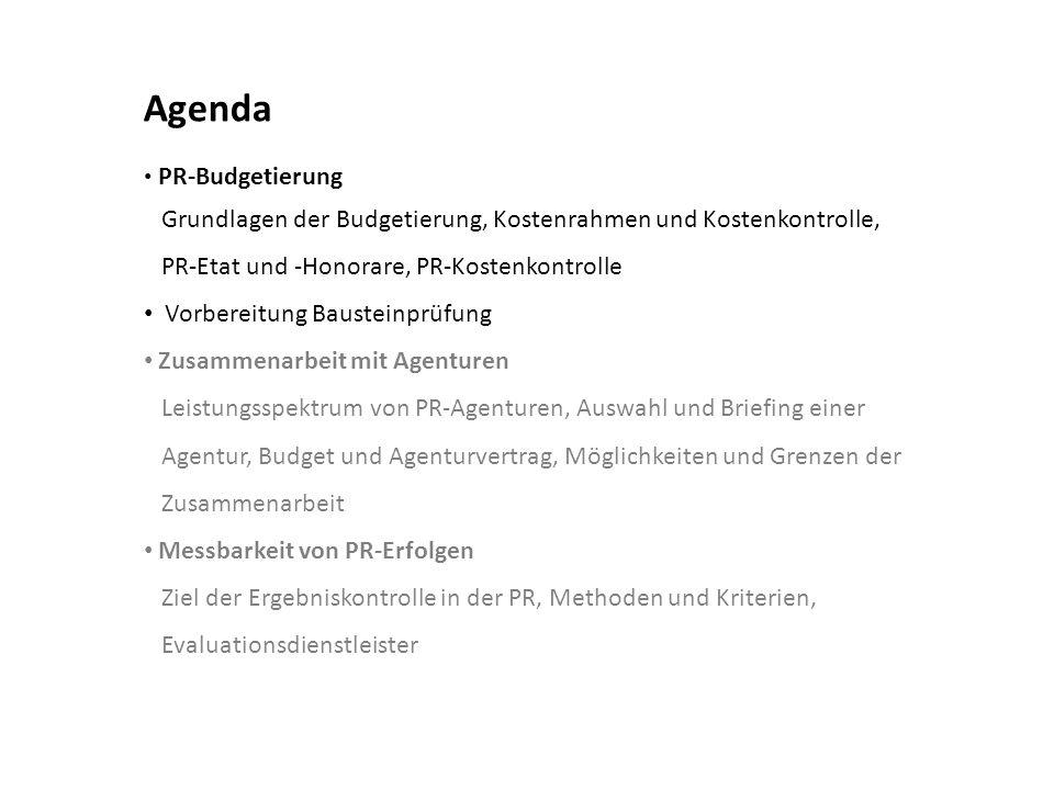 Agenda Grundlagen der Budgetierung, Kostenrahmen und Kostenkontrolle,