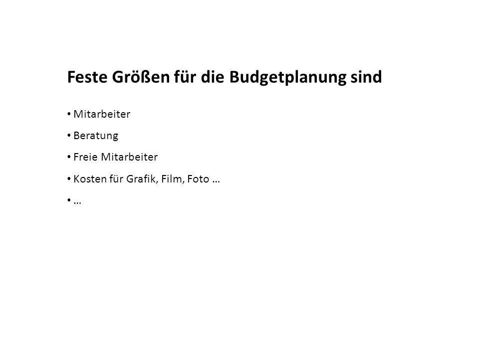 Feste Größen für die Budgetplanung sind